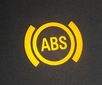 ABS light. Car dashboard in close up